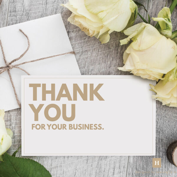 Thank You for your business Insert Cards